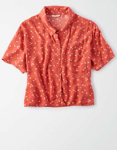 AE Printed Short Sleeve Button Up Shirt