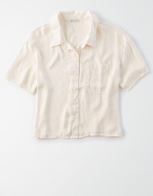 AE Silky Short-Sleeve Button-Up Shirt