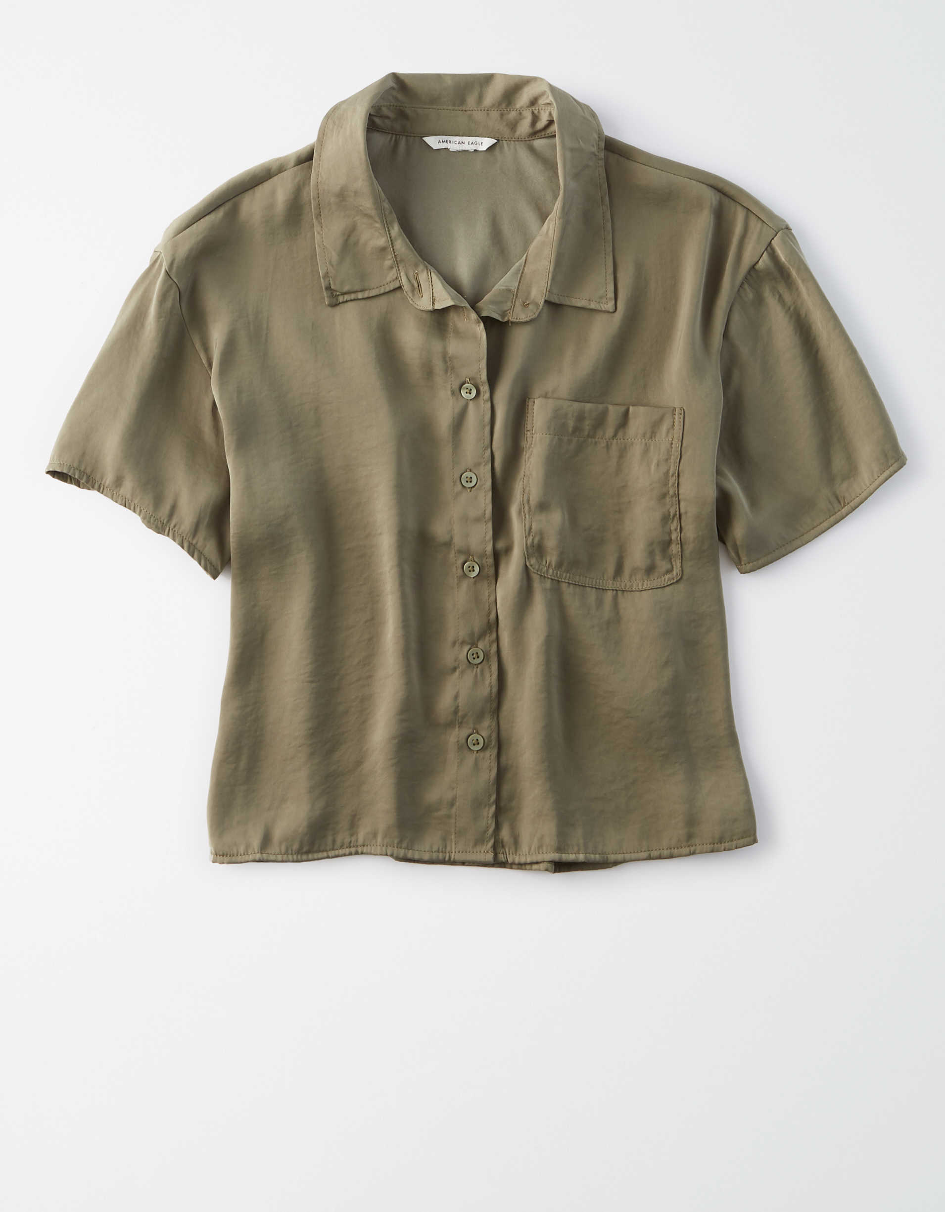 AE Silky Short Sleeve Button Up Shirt