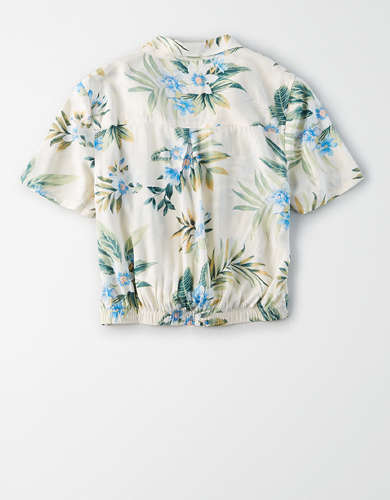 AE Tropical Tie Front Button Up Shirt