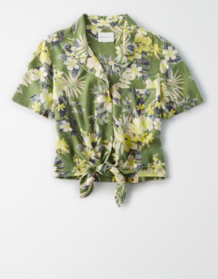 AE Tropical Tie Front Button-Up Shirt