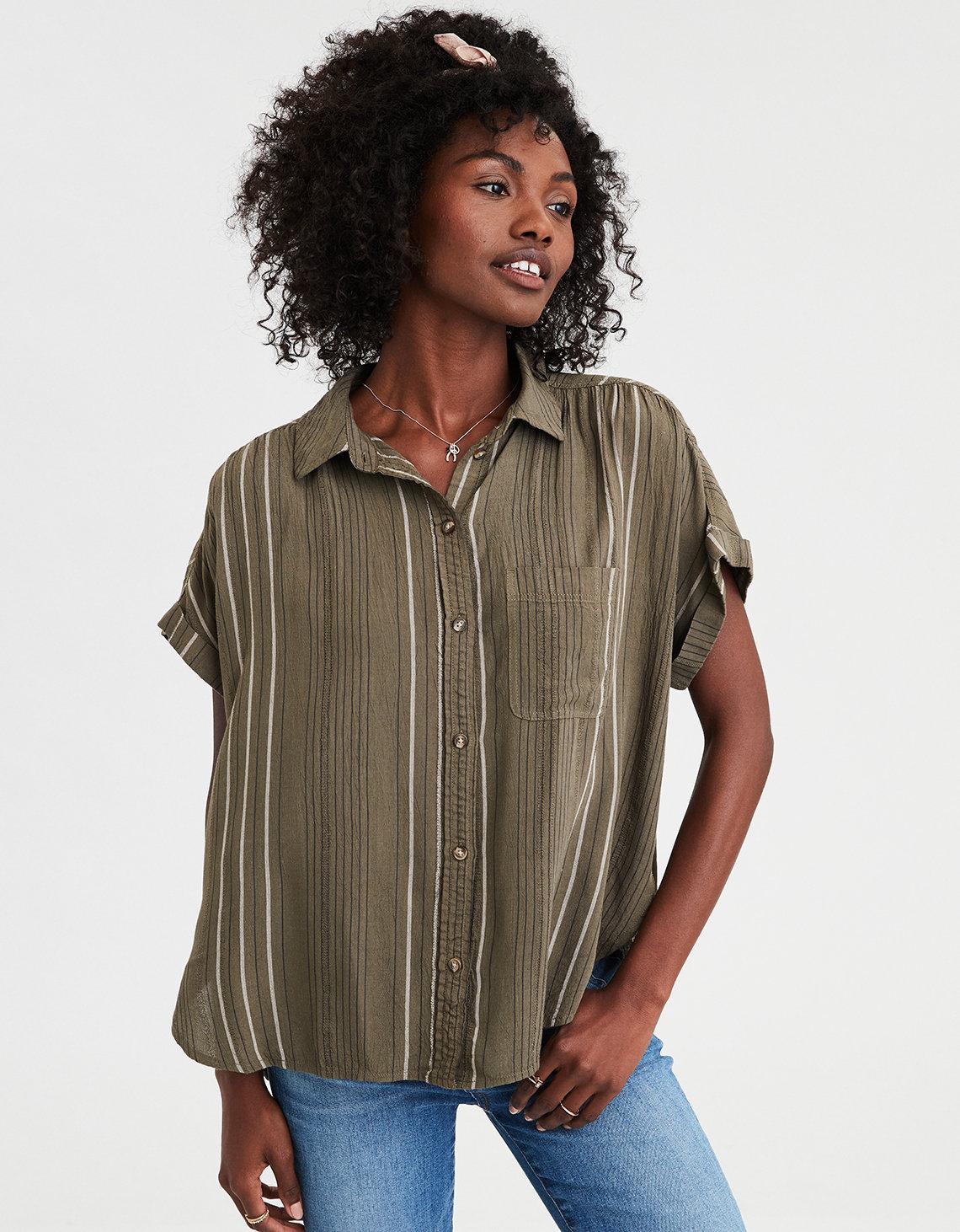 41ec04c8 AE Short Sleeve Striped Button-Down Shirt