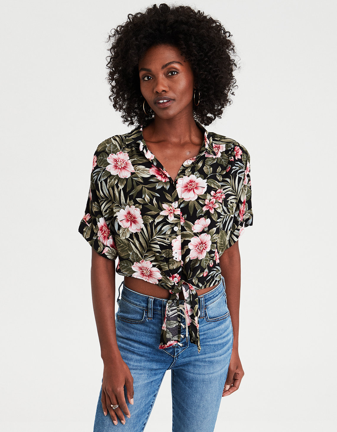 AE Hawaiian Button Down Shirt