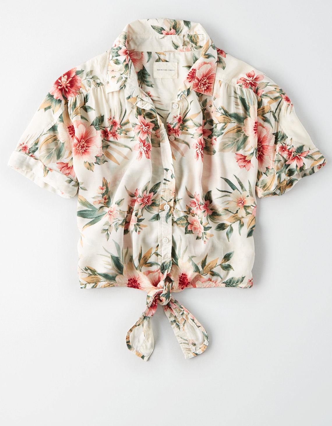 73fd8aad99 AE Hawaiian Button Down Shirt