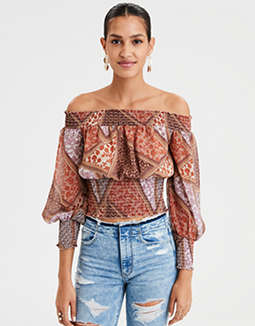AE Off-The-Shoulder Chiffon Blouse