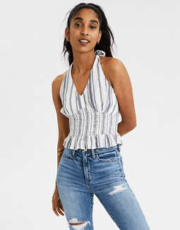 AE Smocked Waist Halter Top