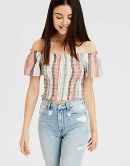 Ae Off The Shoulder Zip Up Top by American Eagle Outfitters