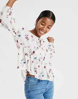 AE Floral Long Sleeve Peasant Top