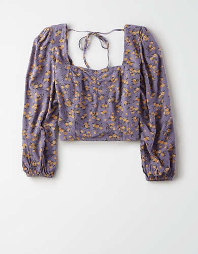 AE Floral Sweetheart Neck Blouse