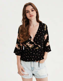 AE Printed Wrap Front Top