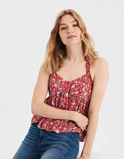 AE Printed Button Front Halter Top