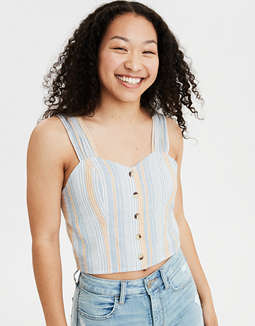 AE Ruched Strap Corset Crop Top