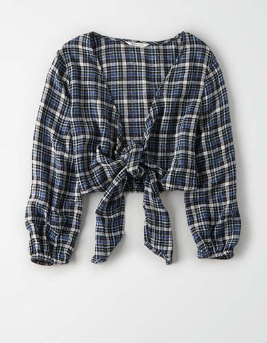 AE Plaid Long Sleeve Tie Front Top