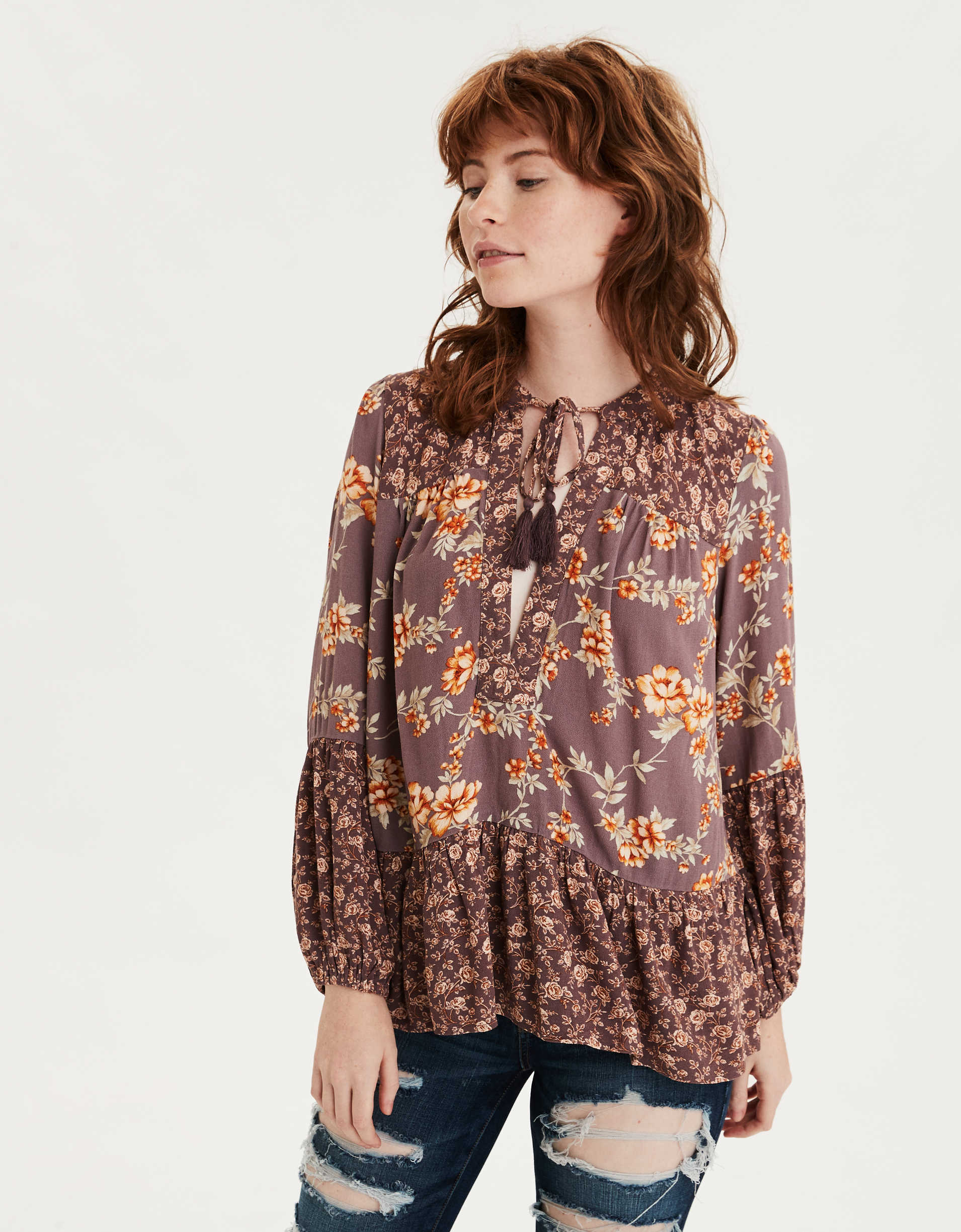 AE Printed Long Sleeve Peasant Top