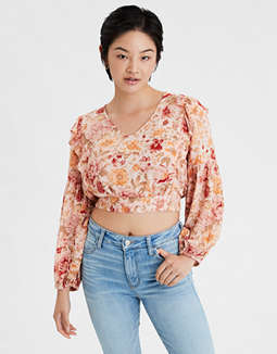 AE Printed Ruffled Tie Back Crop Top