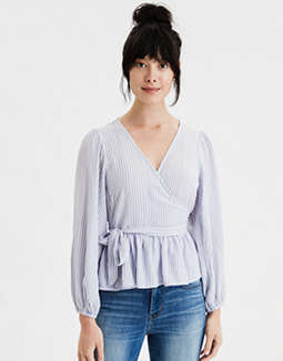 AE Striped Peplum Wrap Front Top
