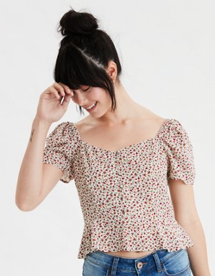 Ae Printed Button Front Peasant Top by American Eagle Outfitters