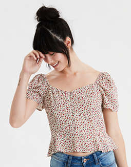 AE Printed Button Front Peasant Top
