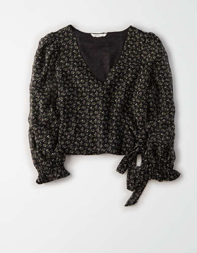 AE Long Sleeve Wrap Front Blouse