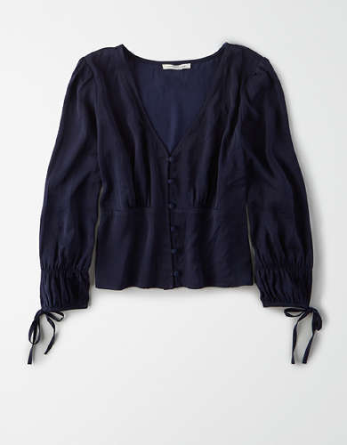 AE Long Sleeve Button Front Blouse