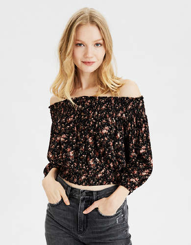 AE Printed Smocked Off-The-Shoulder Top