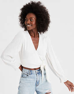 AE Long Sleeve Wrap Front Top