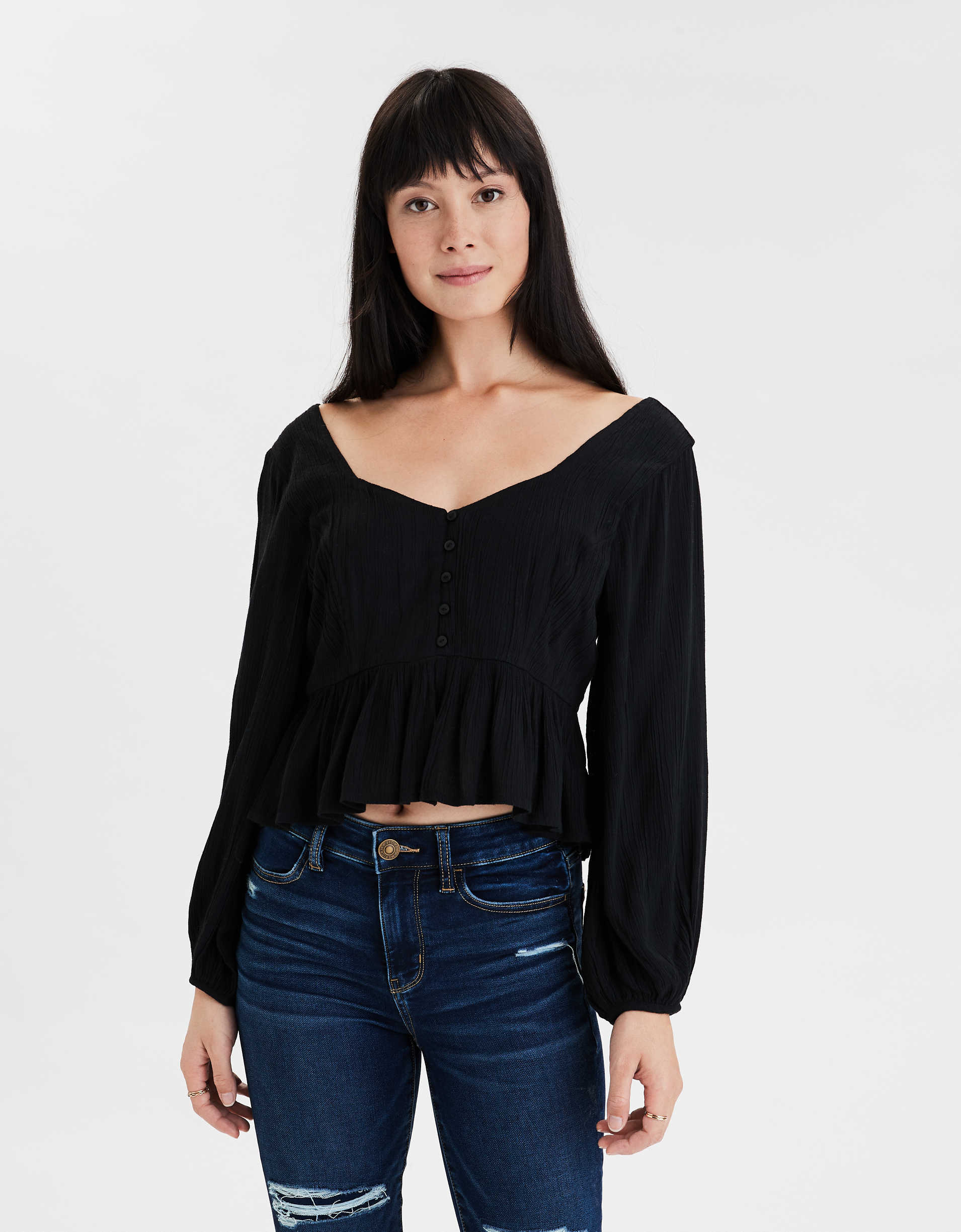 AE Long Sleeve Peplum Blouse