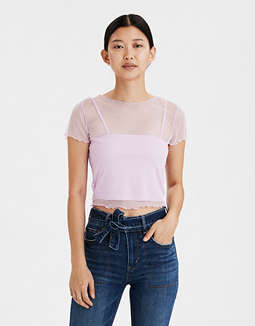 AE Print Mix Mesh Crop Top