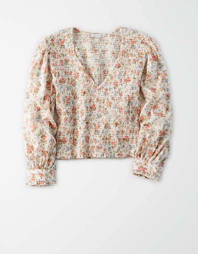 AE Smocked Long Sleeve Blouse