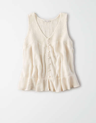 AE Smocked Button Front Shell Top