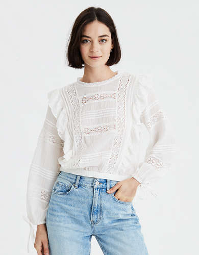 AE Embroidered Long Sleeve Blouse
