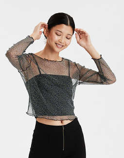 AE Printed Mesh Long Sleeve Top