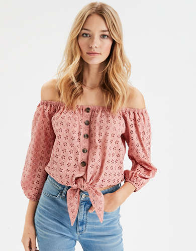 AE Long Sleeve Off-The-Shoulder Top