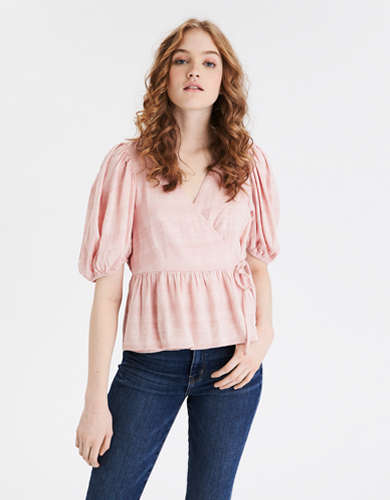 AE Puff Sleeve Wrap Top