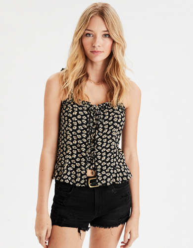 AE Printed Lace Up Cami