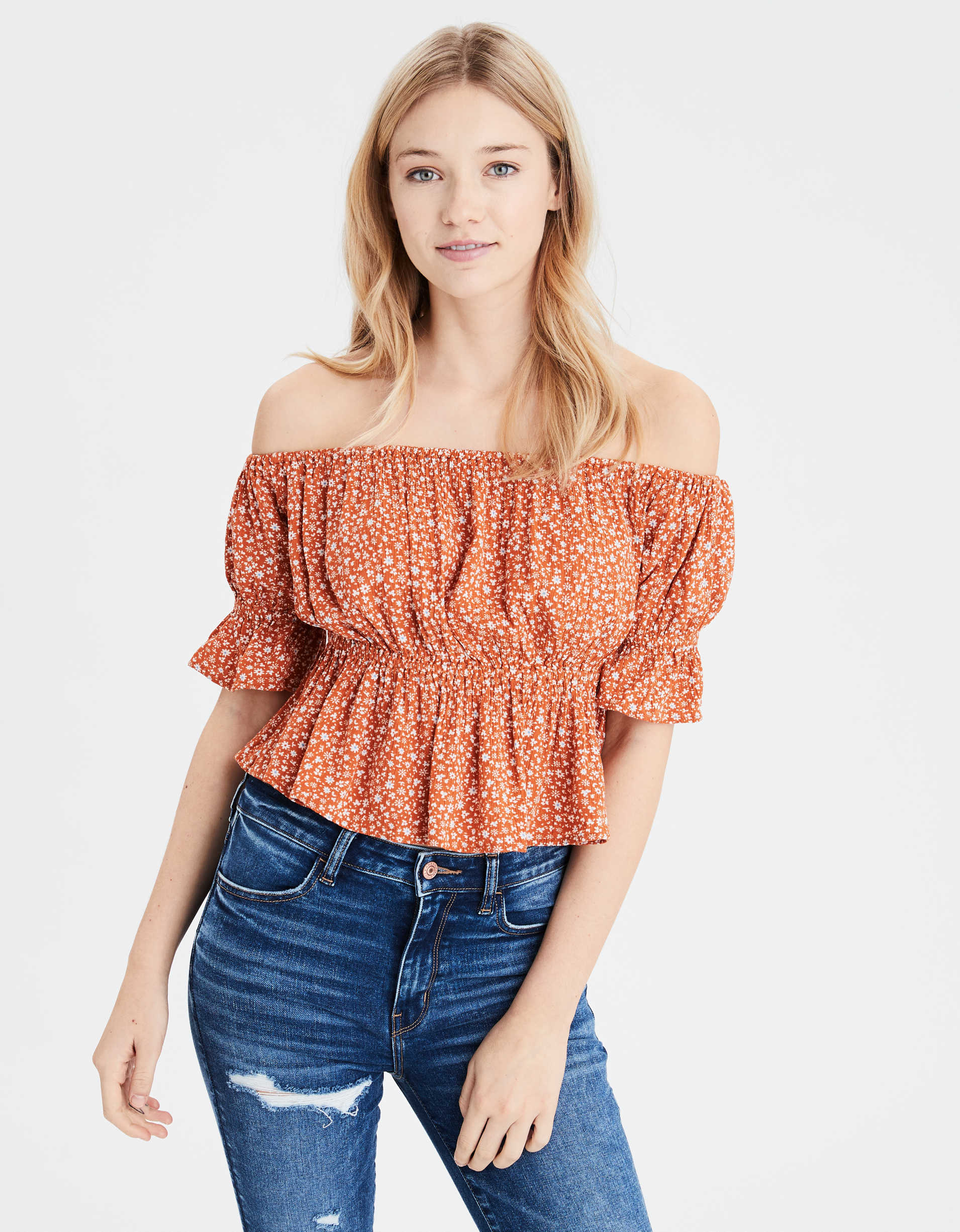 AE Printed Off-The-Shoulder Blouse