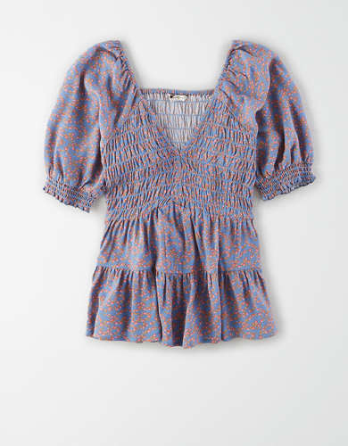 AE Printed Smocked V-Neck Blouse