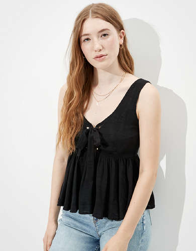 AE Lace Up Scoop Neck Top