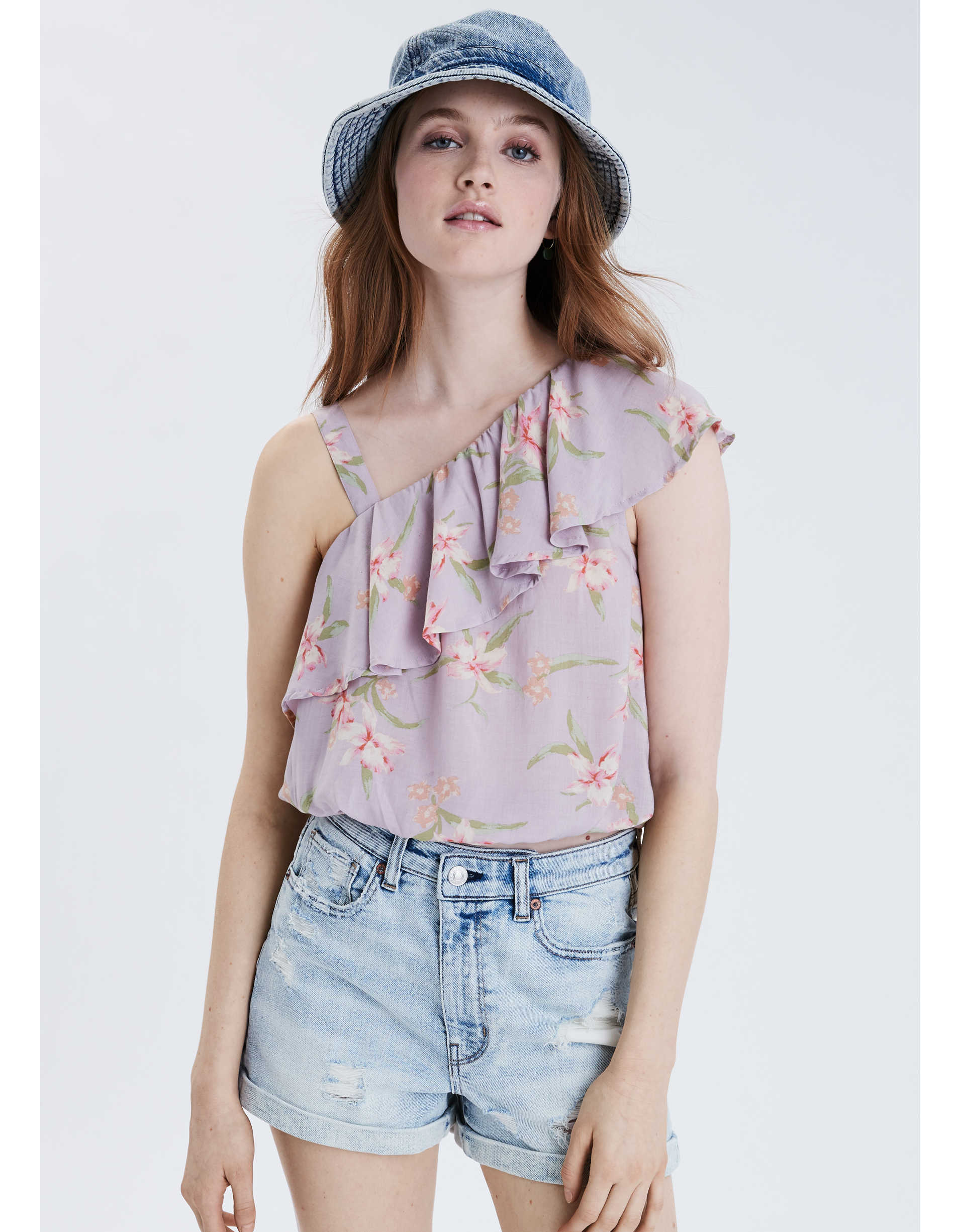 AE Ruffled One Shoulder Bubble Top
