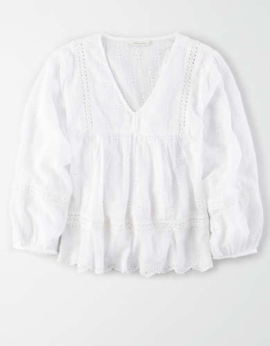 AE Long Sleeve Eyelet Blouse
