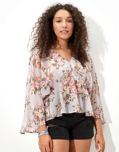 AE Chiffon Long Sleeve Blouse