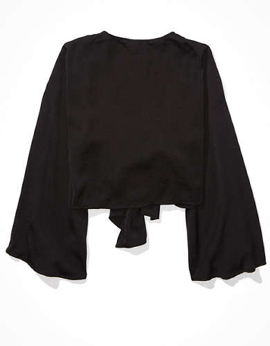 AE Silky Tie Front Blouse