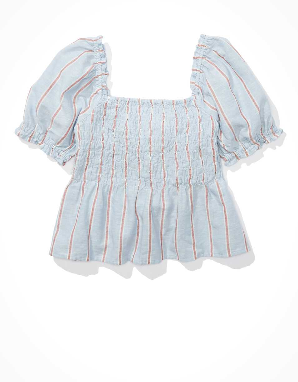 AE Smocked Tie Back Babydoll Blouse