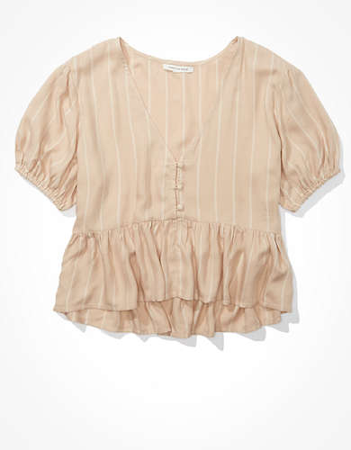 AE Button Front Babydoll Blouse