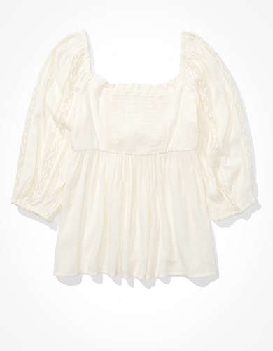 AE Lace Tie Front Babydoll Top