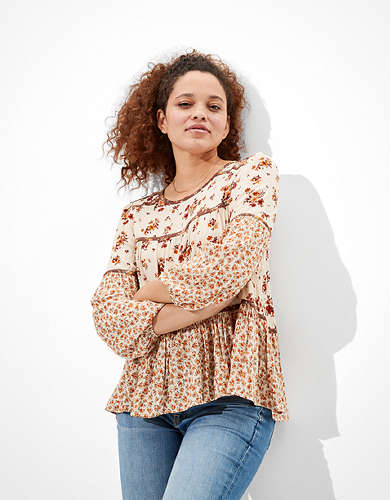 AE Printed Tiered Tunic Top