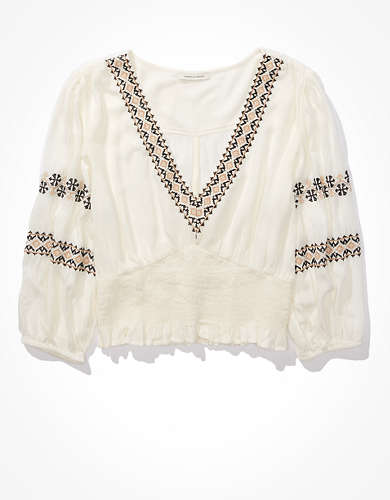 AE Embroidered Smocked Top