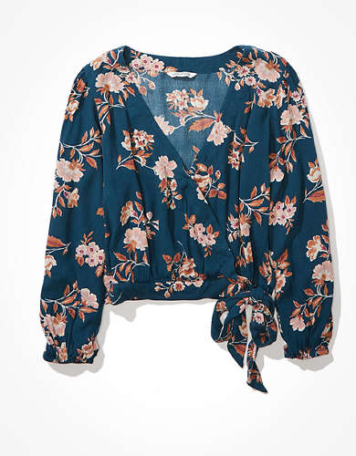 AE Printed Wrap Top