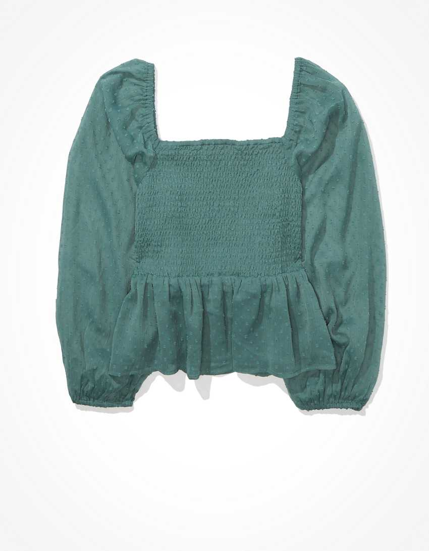 AE Smocked Square Neck Blouse