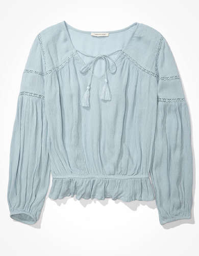 AE Lace Inset Tassel Blouse